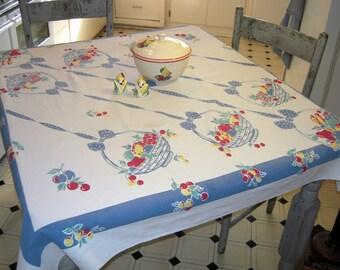 Vintage Tablecloth Fab Fruit Baskets Hang From Polka Dot Ribbon