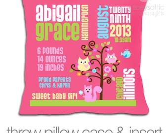 Birth announcement pillow new baby gift GIRLS woodland friends custom throw pillow with DARK pillowcase