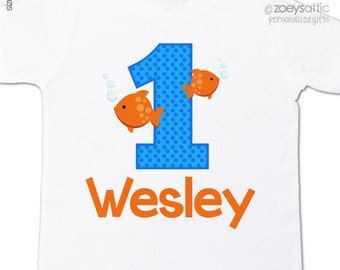 First birthday shirt bubbling fish any age boy or girl personalized Tshirt or bodysuit
