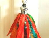 Whimsical Handmade HandPainted Fair Trade Sari Silk Tassel