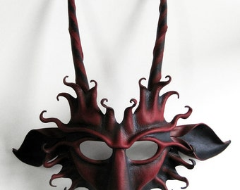 Goat leather mask, black and dark burgundy red, Pan, faun, Baphomet, Capricorn, devil, Krampus