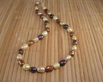 Chocolate Pearl Necklace Chunky Pearl Necklace Yellow Brown Necklace Freshwater Pearls Big Pearl Necklace Multi color Pearls  Caramel Pearls