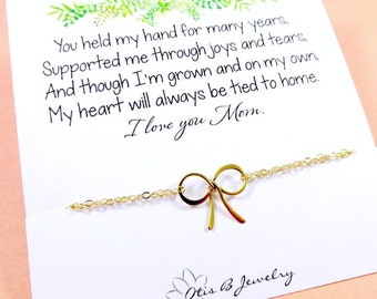 Mother's necklace, Gold bow necklace, Gift for mom, Mothers day gift, Mother of the bride, mother of the groom, Card for mom