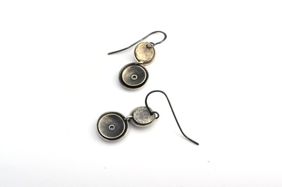 Sterling Silver Dangle Earrings, Oxidixed Silver Earrings, Riveted Jewelry, Geometric Earrings Inspired by Space