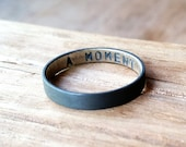 Personalized Oxidized Secret Message Ring. Sterling Silver. Custom Stamped Wedding Band. 3.7mm. Wedding Ring. Flat Ring. Black. Grey