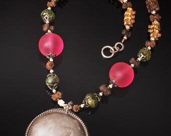 Tribal jewelry * ethnic jewelry * large Indian pendant * snake vertebrae