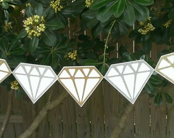 Gold and Silver Glitter Diamond Garland, Wedding Garland, Bridal Shower, Engagement Party