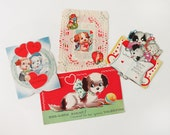 Four 1930s Dog Valentine's Day Cards Featuring Cute Puppy Dogs Wearing Bows