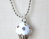 White crystal cupcake necklace