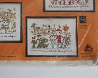 Vintage Crewel Stitchery Kit, Zodiac Sign Kit, Pisces Craft Kit, Embroidery Kit