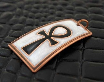 Ankh, breath of life, the key of the Nile or crux ansata copper pendant in black and white