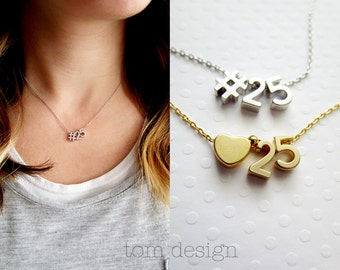 Number Charm Necklace - Personalized Number Gift for mom friend wife kids / Team Number / Anniversary Date Favorite Number Lucky Gold Silver