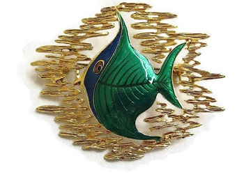 Vintage Enamel Abstract Tropical Fish Brooch