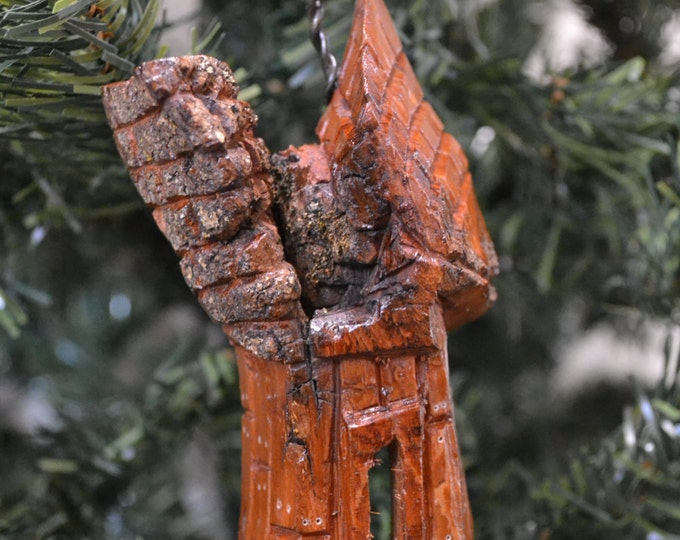 Handmade Christmas Ornament, Cottonwood Bark Carving, Whimsical House, Cottage, Fairy House, Gnome Home, Hand Carved 1002