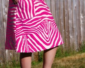 Super fly Aline Skirt with Pockets, Availible in Pink, and Orange, Zebra Print, Custom made for you, Hip sizes women's 30-56 inches