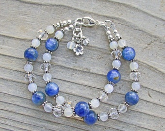 Blue Kyanite Clear Quartz Moonstone Double Strand Healing Gemstone Bracelet