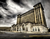 Detroit landscape Michigan Central train station. Abandoned Building, Surreal Fine Art