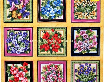 """LAST ONE: Fabric Quilt """"Wildflower"""" Blocks Squares Mixed Flowers Floral Cotton Fabric Panel 11 /12"""" x 44"""" (33 Blocks)"""