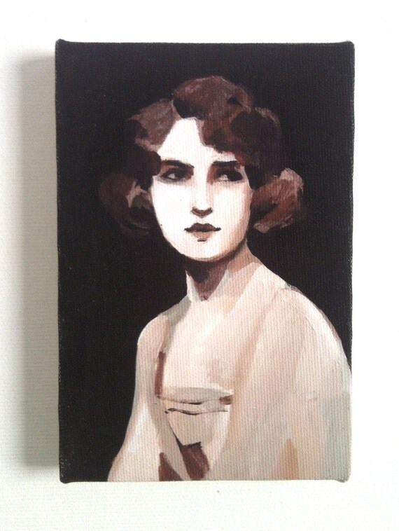 Vintage lady / Tiny canvas print
