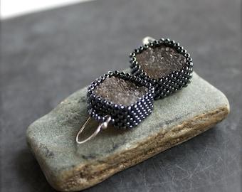 Dark Grey Druzy Beadwork Earrings Sterling Silver Black Agate Quartz Drusy Crystal Beadwoven Boho Jewellery