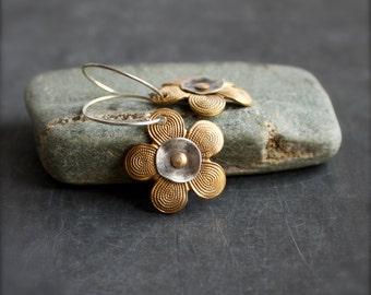 Flower Earrings - Gold Brass, Oxidized Sterling Silver, Riveted Dangle, Garden Nature Boho Jewellery