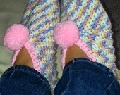 Pink Crocheted Slippers, Slippers in Pastels, Girls Slippers, Womens Crocheted Slippers, Ladies Slippers, Warm Slippers, Pink Slippers