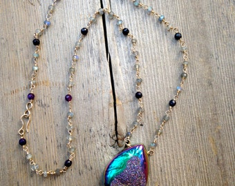 Titanium Druzy with Amethyst and Labradorite 14kGold