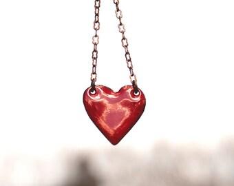 Small Heart Necklace - Love Jewelry - Enamel Heart Necklace -  Layering Necklace - Red Heart Pendant - Sweetheart Gift - Girlfriend Gift