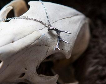 Deer Antler Necklace Silver Deer Antler Pendant 004