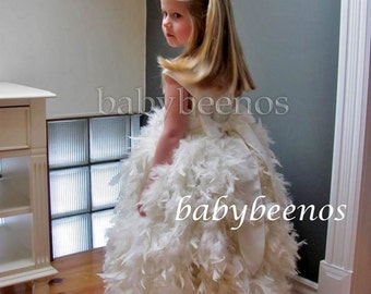 Flower Girl Dress, Feather dress flower girl dress  Floor length flower girl dress - CELESTE - Communion dress, satin flower girl dress
