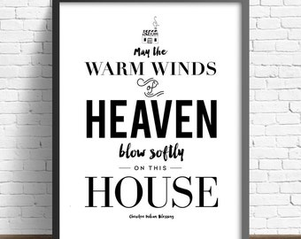"NEW ""Warm Winds of Heaven"" Poster (Black and White )16x20 inch Poster on A2, House warming. Home"