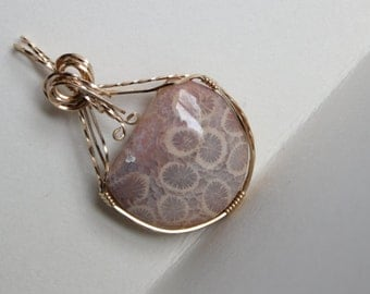Indonesian Petrified Coral Wire Wrapped Pendant. Listing 221142982