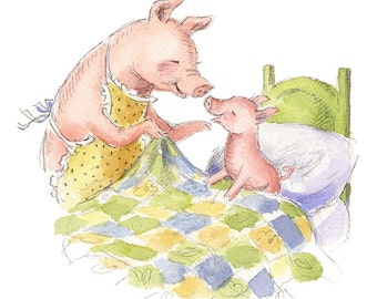 Good Morning, Piggy! - Watercolor Art Print - Nursery or Children's Room Pig Farm Animal Decor