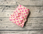 organic fitted cloth diaper - IN STOCK - rainbow heart waves - snap down rise - turned and topstitched