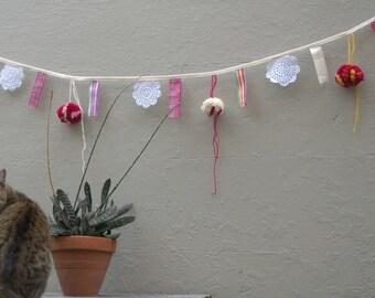 Fabric Bunting Flag Banner PomPom Wedding Party Birthday Garland Pink Yellow Orange White Eco-friendly