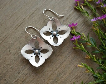 Silver Starflower Earrings Fine Silver Dangle Earrings