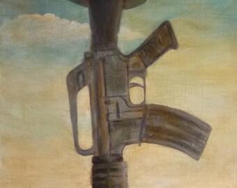 Print - Soldiers Cross - NEVER FORGOTTEN Veteran Soldier Boots Rifle and Helmet
