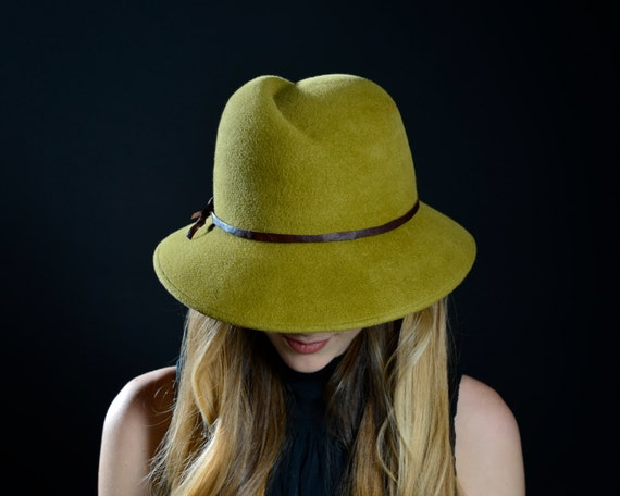 Fedora Hat Custom Hat Women's Hats Women's Accessory Moss Green Fedora Fall Fashion Spring Fashion Winter Accessories Western Style