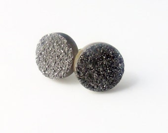 Mystic Grey Druzy Studs Sterling Silver 10mm
