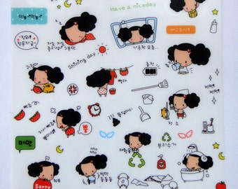 Cute Curly Haired Girl Plastic Stickers From Korea - Pig, Umbrella, Laundry, Relaxing, Bath, Sheep, Cleaning, Hugging, Sleeping, Window