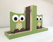 Green Owl Bookends with Chevron Belly, Owl Nursery Decor, Owl Kids Decor, Eco-friendly