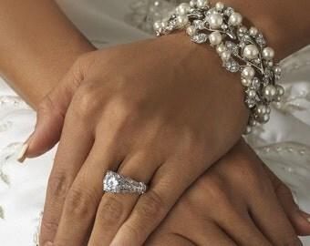 Pearl bracelet vintage style crystal pearl cuff bracelet Downton Abbey, wedding jewellery