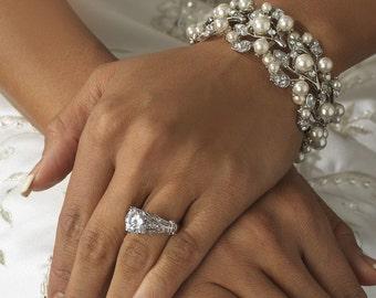 Pearl bridal bracelet vintage style crystal pearl cuff bracelet Downton Abbey, wedding jewellery
