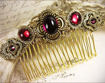 Medieval, Renaissance, Red, Garnet, Bridal Comb, Tudor, Wedding, Hair Accessory, Ren Faire, Medieval Jewelry, Red, Bridesmaid, Canterbury