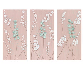 Flower Wall Art for Baby Girl Nursery - Textured Canvas Painting Triptych - Pink and Teal - Medium 32x20