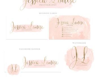 Watercolor Logo Design Photography Logo Photography Watermark Blush Pink Logo Gold Logo Branding Package Marketing Kit Lash Logo Blog Logo