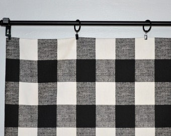Reserved for Breanna - Buffalo Check - Black White Checker Window Valance Curtain - Anderson - Large Gingham