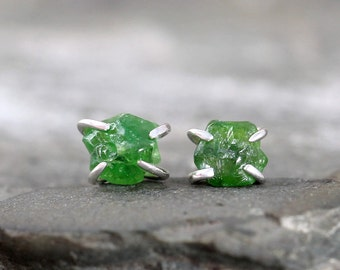 Green Garnet Earrings - Uncut Raw Rough Green Garnet Gemstones - Sterling Silver Stud Style Earrings
