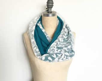 Lace Infinity Scarf in White Lace and Turquoise Knit