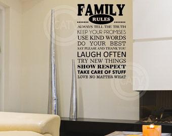 Family Rules vinyl lettering decal sticker